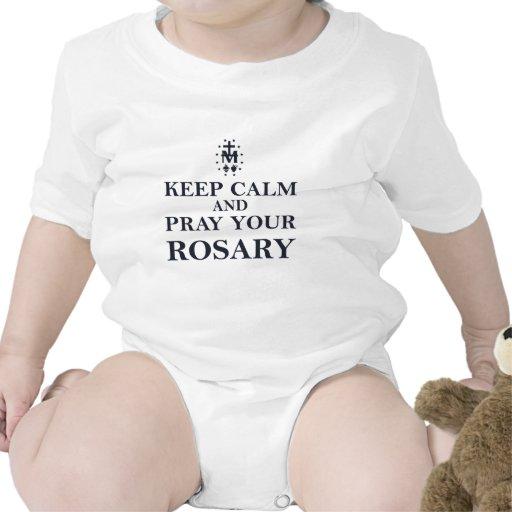 Keep Calm & Pray Your Rosary Black on White Tshirts