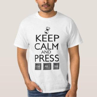 Keep calm Press Control Alt Del Funny Tee Shirt