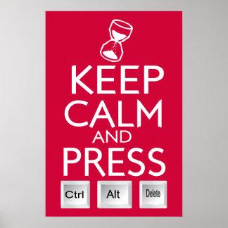 Keep Calm Press Control funny Tech Poster