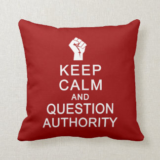 Keep Calm & Question Authority custom pillow
