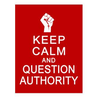 Keep Calm & Question Authority postcard, customize Postcard