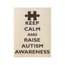Keep Calm Raise Autism Awareness Unisex Autism Kee Wood Poster