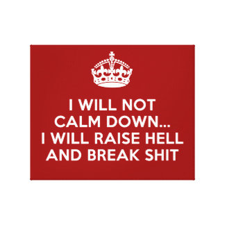 Keep Calm Raise Hell and Break Stuff Stretched Canvas Prints