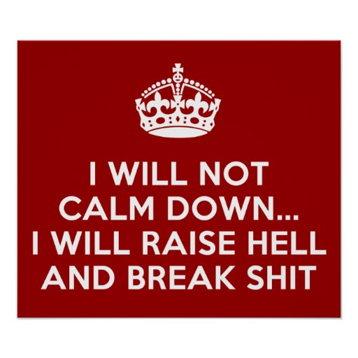 Keep Calm Raise Hell and Break Stuff Poster