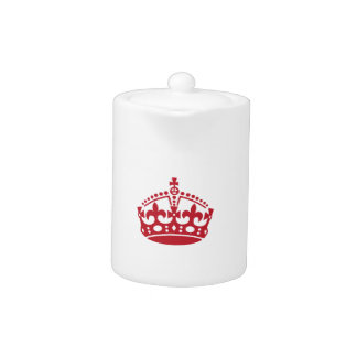 Keep calm red victory crown teapot