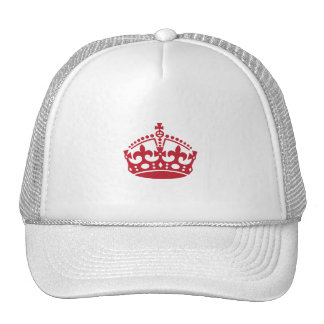Keep calm red victory crown trucker hat