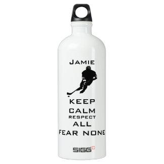 KEEP CALM RESPECT ALL FEAR NONE Hockey Aluminum Water Bottle