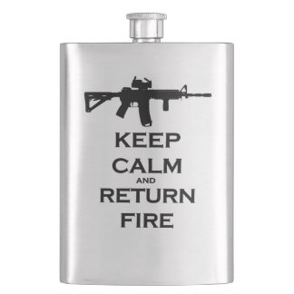 Keep Calm & Return Fire Flask