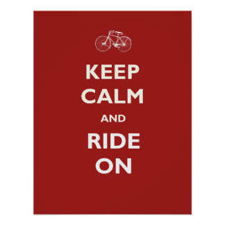 Keep Calm Ride Bicycle Poster or Print