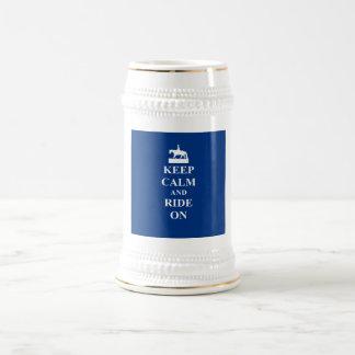 Keep calm & ride on (blue) beer stein