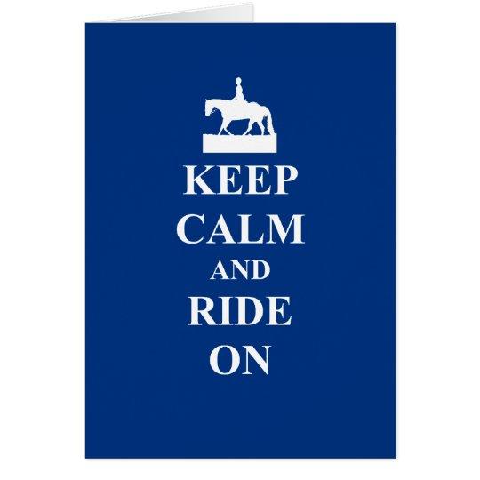 Keep calm & ride on (blue) card