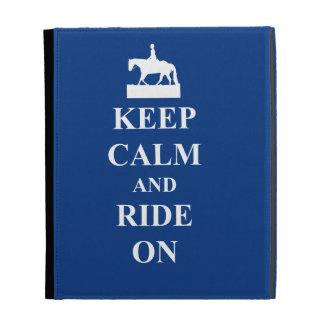 Keep calm ride on blue iPad folio case
