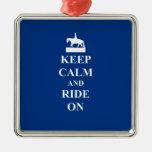 Keep calm & ride on (blue) christmas ornament