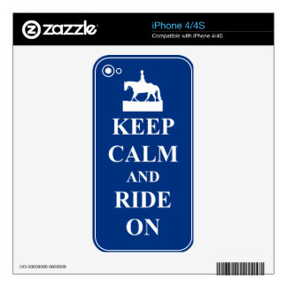 Keep calm & ride on (blue) decals for the iPhone 4