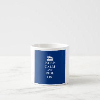 Keep calm & ride on (blue) espresso cup