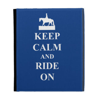 Keep calm & ride on (blue) iPad cases