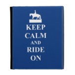 Keep calm & ride on (blue) iPad folio case