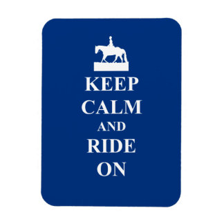 Keep calm & ride on (blue) magnet