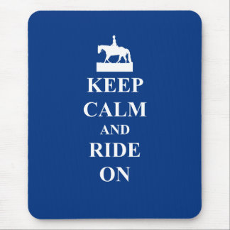 Keep calm & ride on (blue) mouse pad