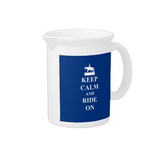 Keep calm & ride on (blue) pitcher