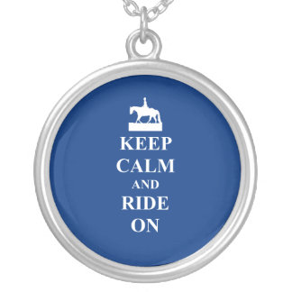 Keep calm & ride on (blue) silver plated necklace