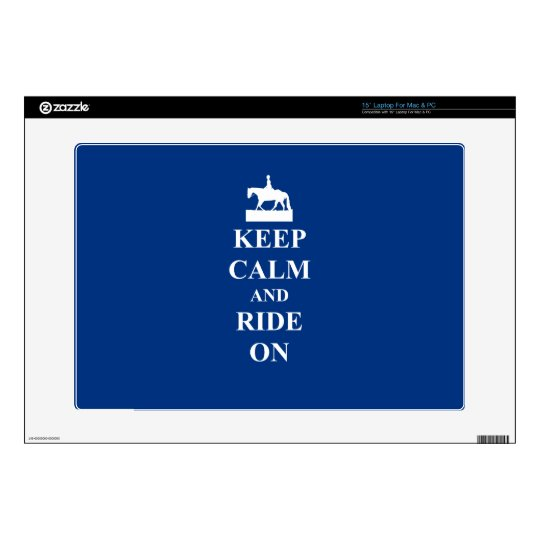 """Keep calm & ride on (blue) skin for 15"""" laptop"""