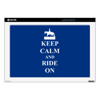 "Keep calm & ride on (blue) skin for 17"" laptop"