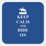 Keep calm & ride on (blue) sticker