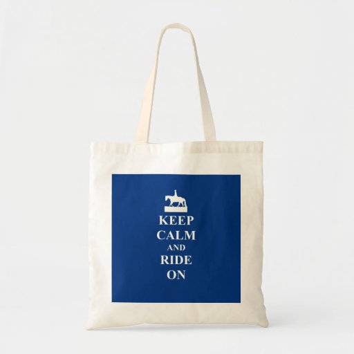 Keep calm & ride on (blue) tote bags