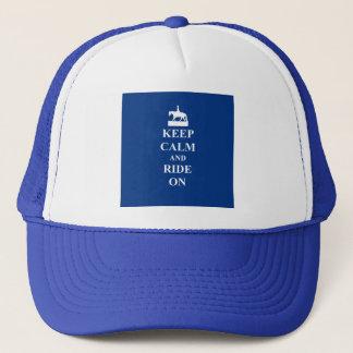 Keep calm & ride on (blue) trucker hat