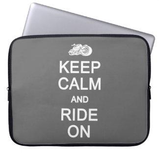 Keep Calm & Ride On custom color laptop sleeve