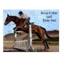 Keep Calm & Ride On! Horse Jumper Postcard