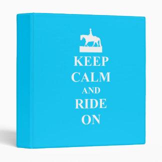Keep calm & ride on (light blue) 3 ring binder