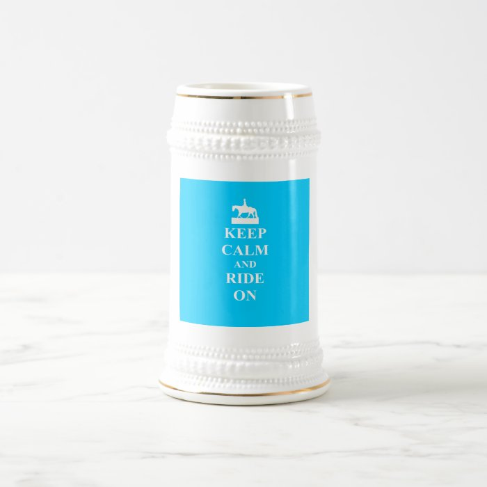 Keep calm & ride on (light blue) beer stein