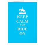 Keep calm & ride on (light blue) card