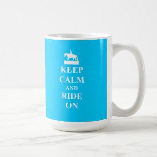 Keep calm & ride on (light blue) coffee mug