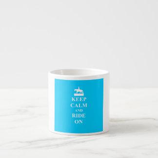 Keep calm & ride on (light blue) espresso cup
