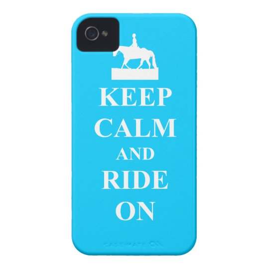 Keep calm & ride on (light blue) iPhone 4 Case-Mate case