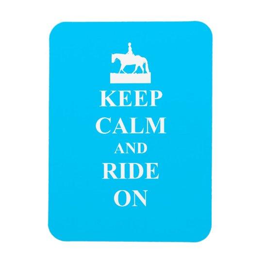 Keep calm & ride on (light blue) magnet