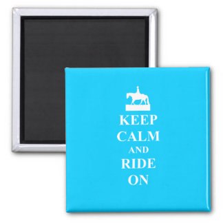 Keep calm & ride on (light blue) magnet