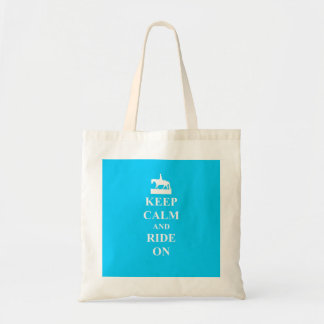 Keep calm & ride on (light blue) tote bag