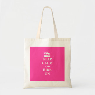 Keep calm & ride on (pink) budget tote bag