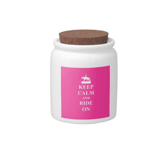 Keep calm & ride on (pink) candy jar