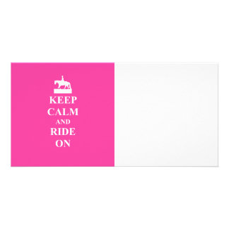 Keep calm & ride on (pink) card