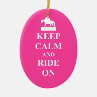 Keep calm & ride on (pink) ceramic ornament