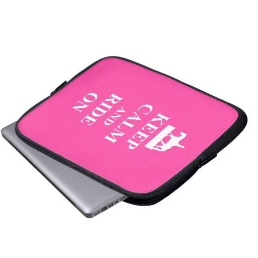 Keep calm & ride on (pink) laptop computer sleeves