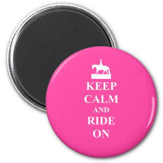 Keep calm & ride on (pink) magnet