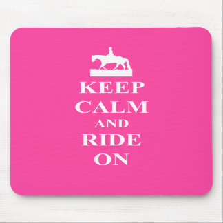 Keep calm ride on pink mousepads