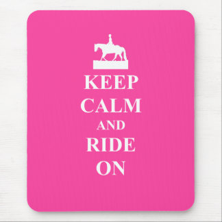 Keep calm & ride on (pink) mousepads