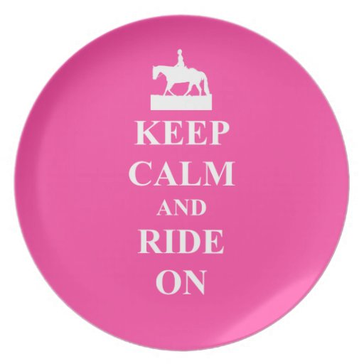 Keep calm & ride on (pink) plate